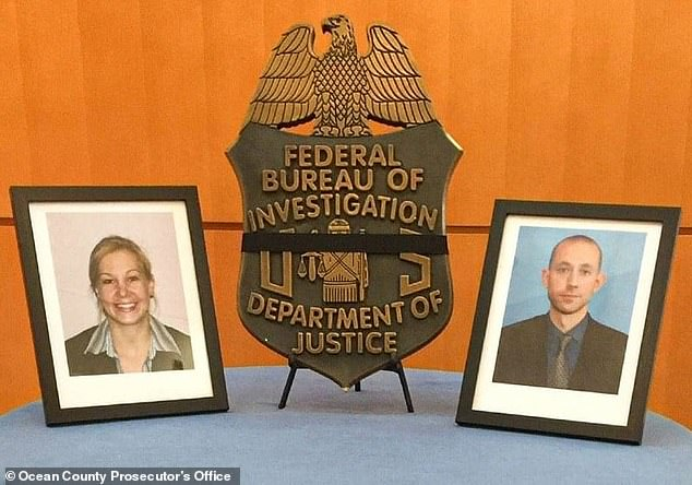 The suspect, who was armed with an assault-style rifle, lay in wait for the FBI agents (pictured above) and opened fire on them through his unopened door after observing them through the doorbell camera