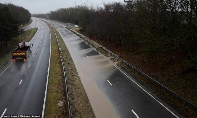 Heavy rainfall has caused the A19 northbound at Sunderland to be closed this morning because one of the lanes is flooded