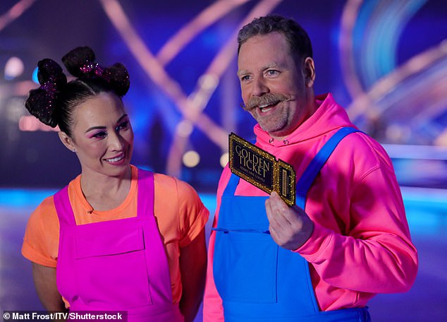 Double ditch! A spokesperson for DOI confirmed Rufus and his pro partner Robin Johnstone have both been axed from the skating show on Wednesday (pictured on the launch night)
