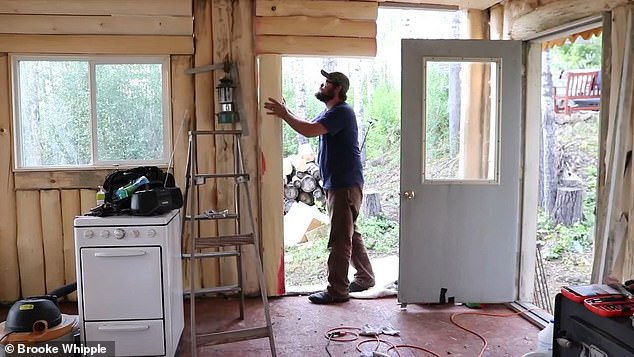 Working hard: The couple say that you need plenty of 'sweat equity' to make your off-grid property dreams come alive