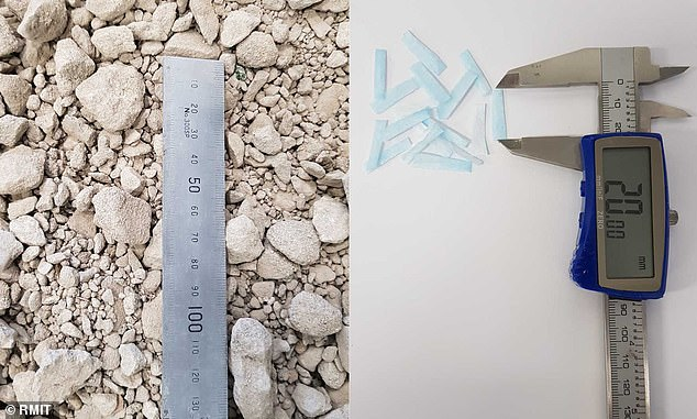 The hybrid material blends recycled concrete aggregate (RAC) (left) and small strips of shredded disposable face masks (right)