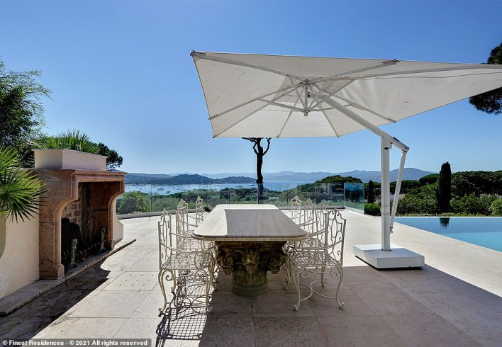 The stunning terrace that overlooks the Gulf of St-Tropez. Mr Corcos says: 'Properties in the domain Les Parcs de Saint-Tropez start from seven to eight million euros (£7million/$9.5million) up to 75million euros (£65million/$89million) and more, depending on the location, the panoramic views, then the size of the land and the living area'
