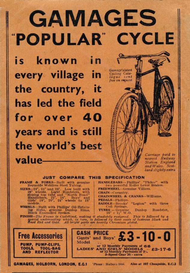 A 1949 poster for a Gamages 'Popular' cycle. The tech was pretty state-of-the-art for the time and what's more, carriage was paid to the nearest railway station in England and Wales, and to one in Scotland was only 'slightly extra'