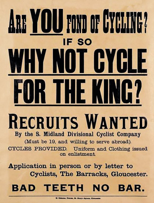 A recruiting poster for the South Midland Divisional Cyclist Company, which was active in both world wars, says Mr Ashley