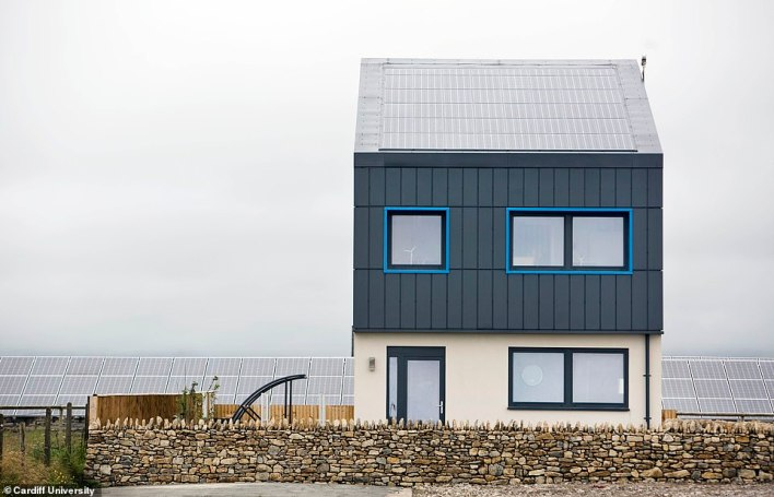 A solar-powered prototype house built in Wales produces 30 per cent more electricity than it consumes over the course of a year, scientists have said (pictured)