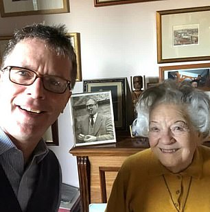 Nicky and Mum Sheila with a Photo of his dad, 2018