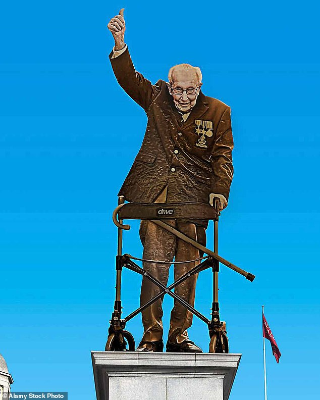 The Mail has led the campaign for the WWII veteran to be commemorated for his incredible charity walk that raised £33million for NHS charities and inspired the nation. Pictured: How the statue could look