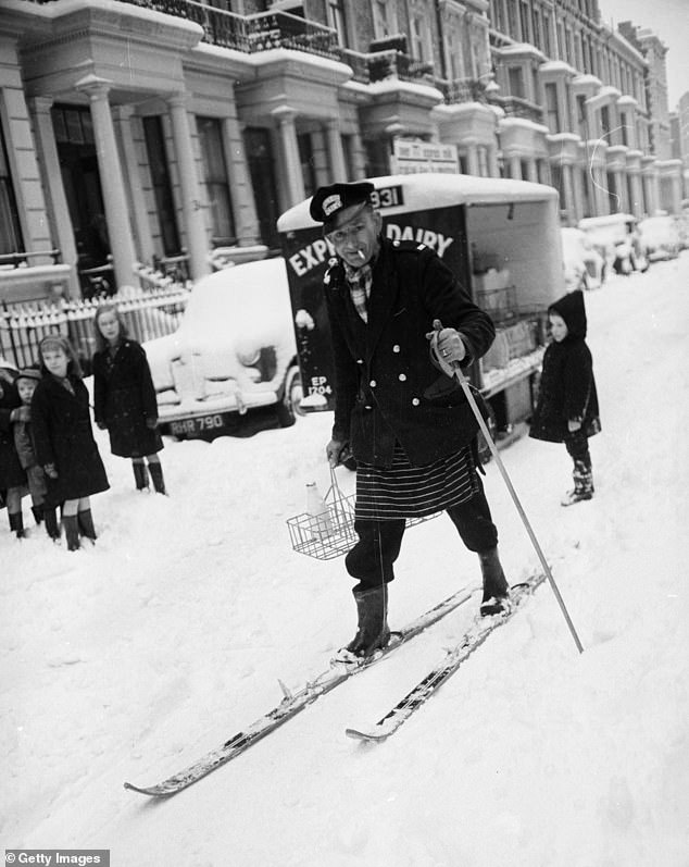 Juliet Nicolson explores how the Great British Freeze of 1962-3 kick-started the modern era in a new book. Pictured:A milkman doing his deliveries on skis in London, 1962