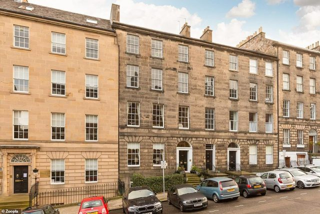 This four-bed flat in a stunning Georgian building in Scotland's Edinburgh has an asking price of £1million