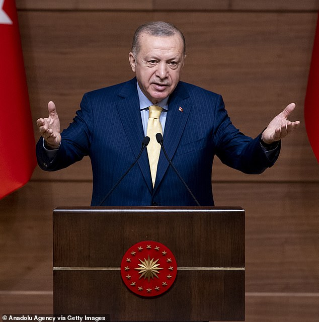 Turkish President Recep Tayyip Erdogan told members of his party 'there is no LGBT' during a televised address on Wednesday