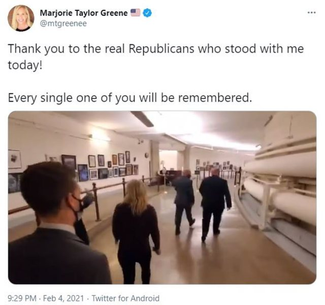 Greene thanked the199 Republicans who voted for her to keep her House committee assignments on Thursday