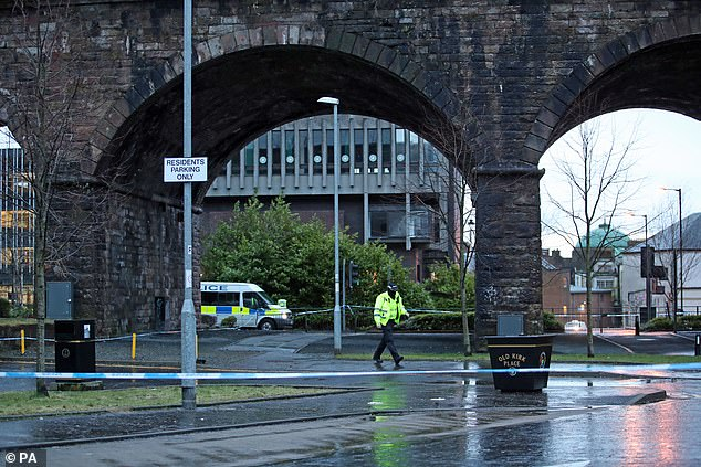 Minutes later officers rushed to another incident under a viaduct (pictured this morning) on Portland Street in the centre of Kilmarnock. This incident reportedly also involved a stabbing
