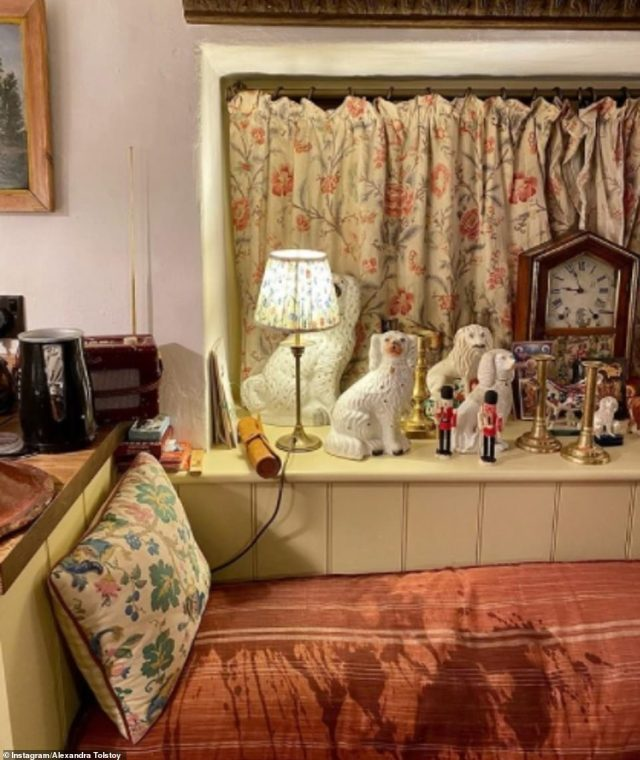 Personal treasures: The house is decorated with dozens of ornaments and soft furnishings in an array of patterned fabrics