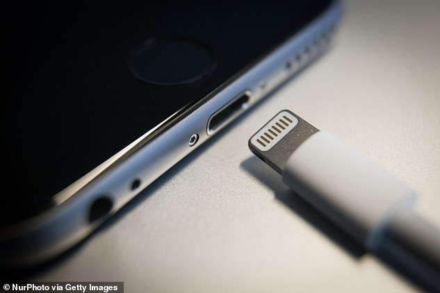 Apple may finally drop its Lightning cable (pictured above) in favour of wireless charging by 2021 according to top Apple analyst Ming-Chi Kuo. Stock image