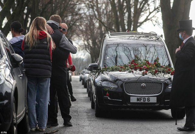 Stuart Stephens, father of 13-year-old Oliver Lucas Stephens, said his son 'touched so many lives without either us or himself knowing it' during a service at Reading Crematorium today