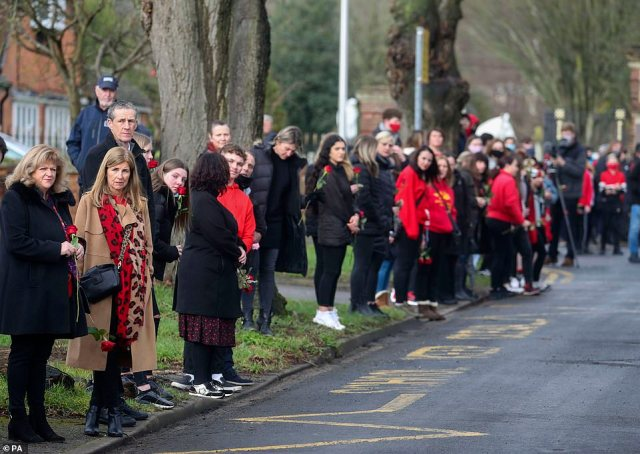 Crowds of people dressed in red and holding red roses turned out to pay tribute to the tragic 13-year-old killed last month
