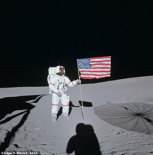 'The golf game did not set well with most geologists in light of the results at Cone crater,' said Don Wilhelms of the US Geological Survey — making reference to the astronauts' failure to reach and take samples from the crater's rim. Pictured: Commander Shephard on the moon
