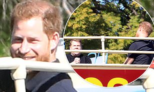 prince harry hangs out with james corden and camera crew atop double decker bus in hollywood daily mail online