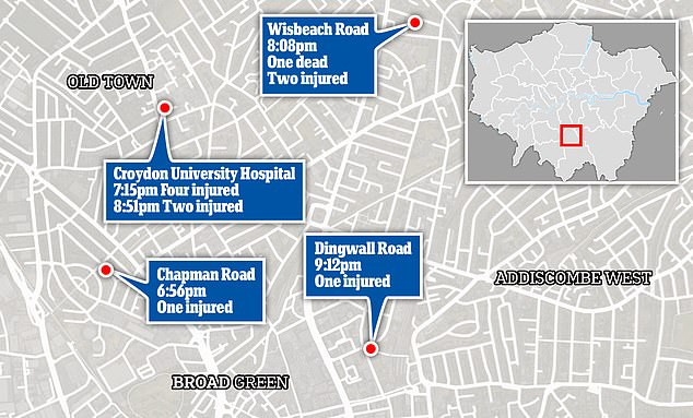 Pictured: How the violence unfolded in and around Croydon, south London on Friday night