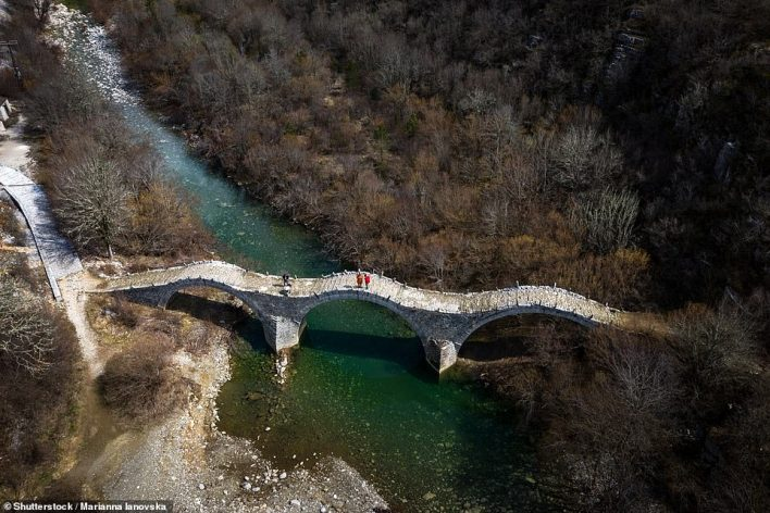 The Daily Mail's Clare Mann covered 120 miles over the course of her five-day tour. Pictured is Plakida Bridge near the village of Kipoi