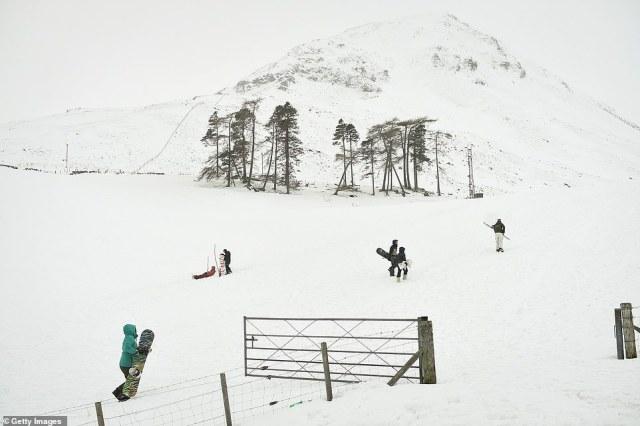 A few dozen people headed to Scotland's Glenshee to enjoy mounds of snow earlier today