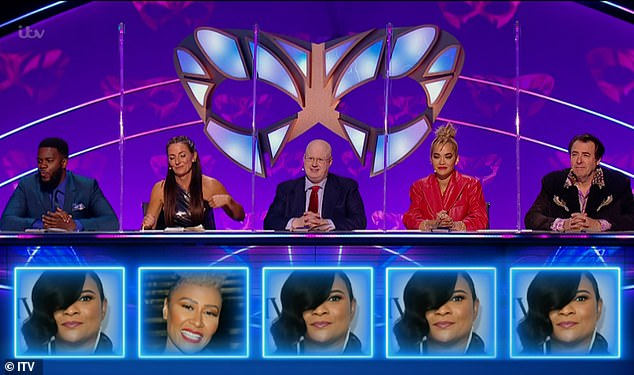 Success:Gabrielle was unveiled as Harlequin after all the judges bar Davina McCall named her as their guess
