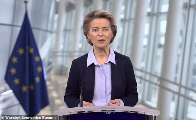 EU Commission President Ursula von der Leyen today compared countries' vaccine nationalism to the Cold War space race