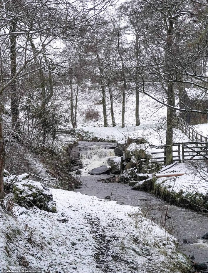 Snow scenes in Healeyfield, County Durham this morning following a night of snowfall