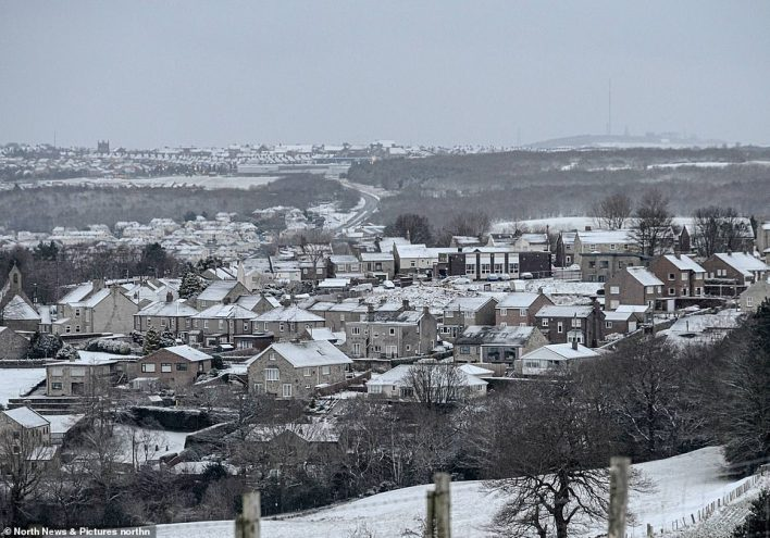 Snow covered rooftops in Castleside, County Durham this morning after overnight snowfall