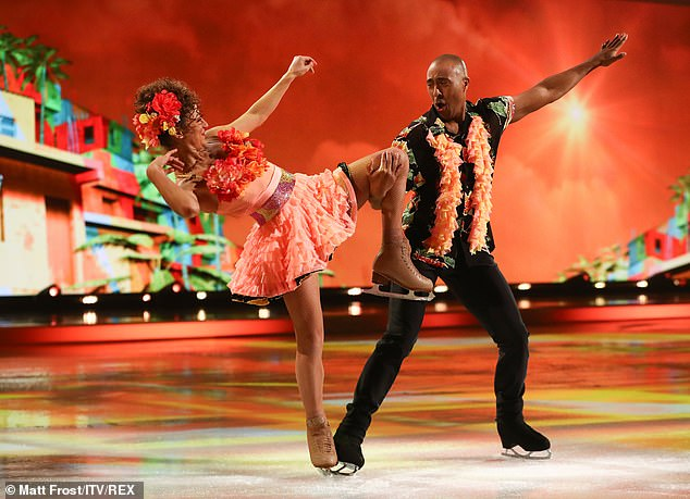 Colourful! Colin and Klabera dazzled on the ice in their bright orange and black costumes