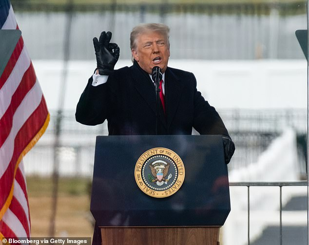 Former President Donald Trump was removed from Facebook in the wake of the January 6 attack on Congress. Pictured: Trump speaks at a rally moments before his supporters marched on the Capitol
