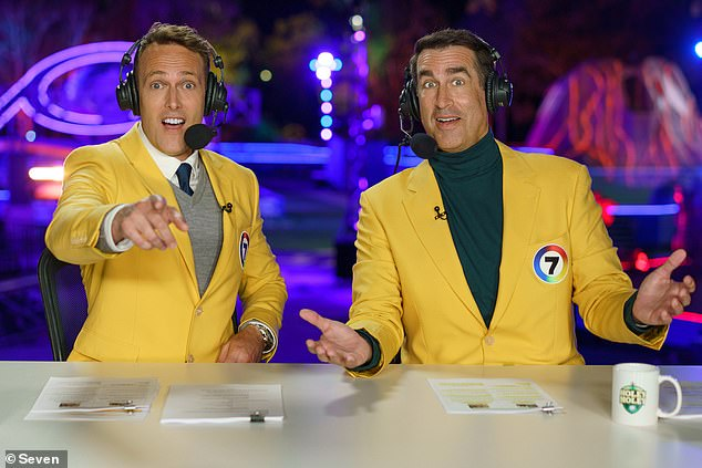 Gone: The show apparently caused so many accidents on set that American commentator Rob Riggle (right) fled to the United States in a hurry, 'shocked by the carnage'.  Pictured with fellow commentator Matt Shirvington (left)