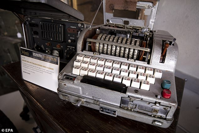 Historian and collector Julius Urbaitis, 57, amassed the remarkable group of gadgets over a 30-year period, procuring almost 400 items in that time. Pictured: A Soviet version of the Enigma code cipher machine known as the Fialka