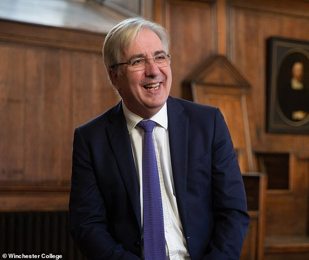 The school - one of only four only-boys schools remaining in the UK - charges £42,000-a-year in fees but spends £3.7million of its annual gross fee income of £27.5million on bursaries and scholarships to help poorer children join. Pictured, Mr Hands