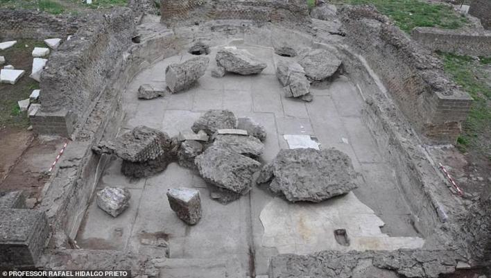 The room containing the table at which the emperor Hadrian and his wife likely held elaborate power breakfasts some 1,900 years ago has been discovered. Pictured, theVilla Adriana