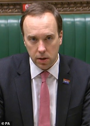 Matt Hancock (pictured) indicated today that tough border measures including quarantine hotels will need to be in place until vaccines have been tweaked to deal with variant strains in the Autumn
