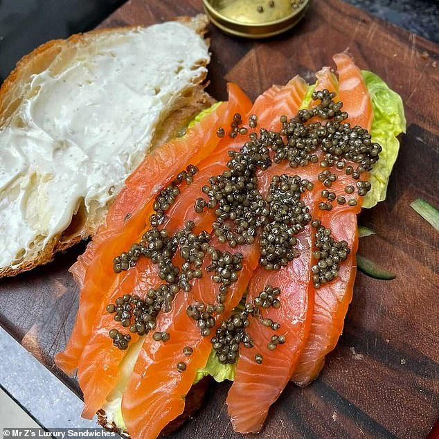 Other sandwiches boast elaborate names such as Da Vinci and Poseidon, which is a croissant filled with caviar, smoked salmon, labneh, whipped butter, cucumber and lettuce (above)