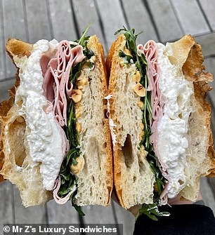 Each high-end sandwich (above, one sandwich) is made by Andrea himself, who has worked in some of the most prestigious restaurants in the world and catered for celebrities