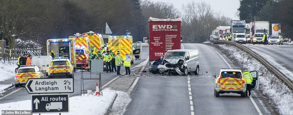The icy conditions are thought to have contributed to a serious three-vehicle road traffic accident closes the A12 in both directions on the Langham stretch just north of Colchester on the Essex Suffolk border