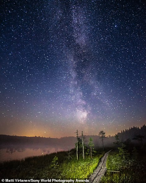 Photographer Matti Virtanen is behind this amazing image, which snares him the national award for Finland. He explains: 'I may not have managed to capture any meteors during the Perseids [a meteor shower] of 2020, but I did get this night shot, which is full of wonder'