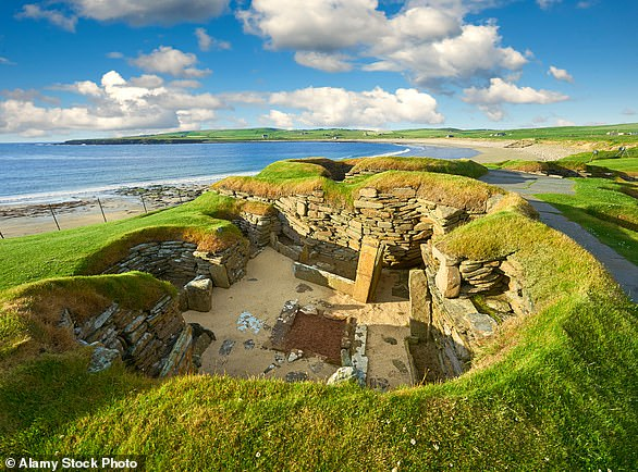 A Neolithic house in the settlement of Skara Brae, circa 2,500 to 2,000 BC, Orkney Island, Scotland, United Kingdom
