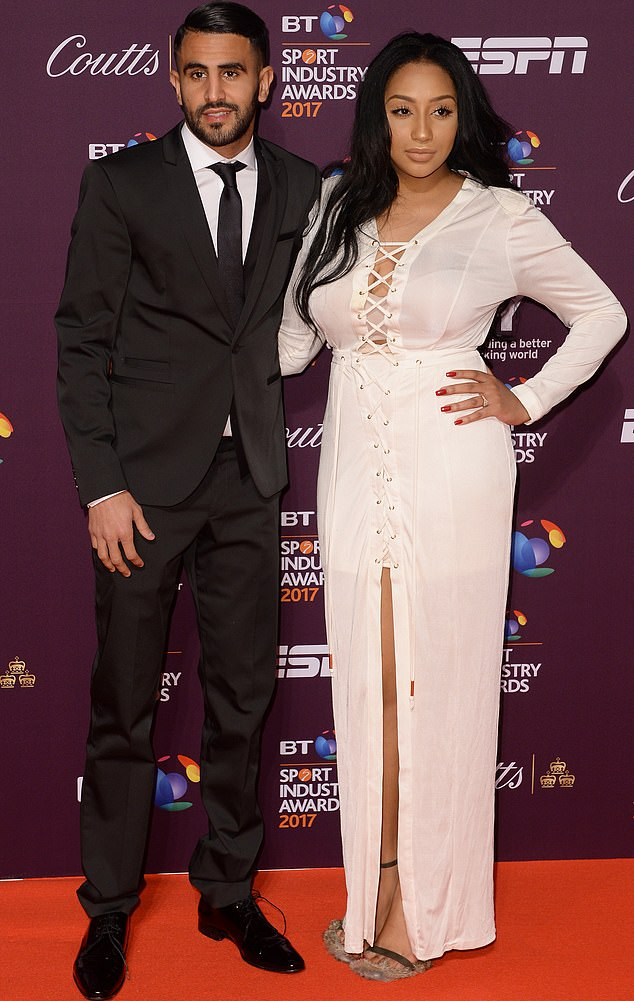 A fraudster blew £175,000 on Riyad Mahrez's bank card as he treated himself to a £20,000 trip to Ibiza, gambling and even trips to Nando's, KFC and Greggs. Mahrez is said to have split up with wife Rita (pictured)