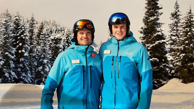 Joe Mellor skiing in Whistler, Canada, with his friend Matt Smith (right) in early 2020