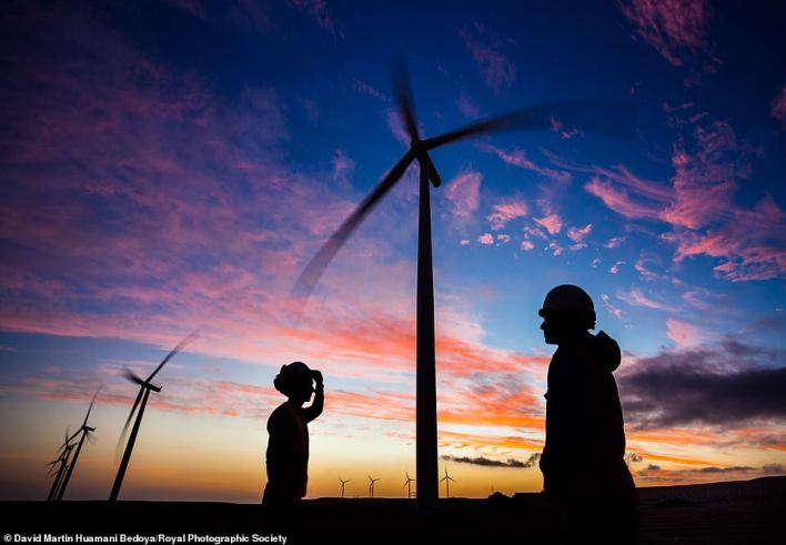 This sunset photo of the Marcona wind farm in Peru captures a live look at what is possible humanity's greatest hope for ditching fossil fuels — wind power. This photo from David Martin huamani Bedoya shows the 11 turbines which were first built in 2011 and combined create 32 megawatts of electricity