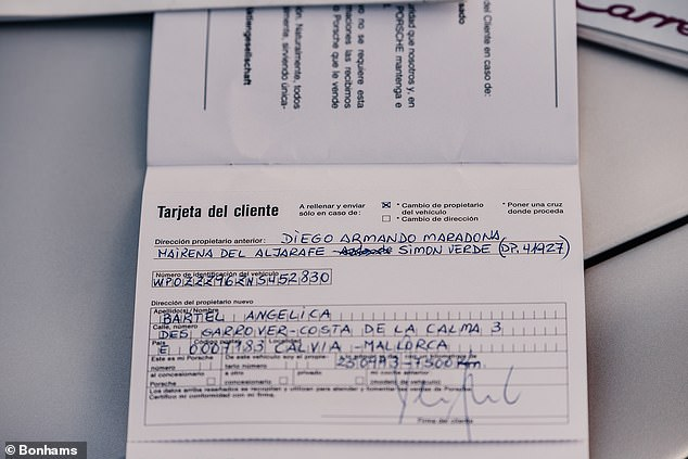 This logbook is also signed in Maradona's full name and the address he lived during his year in Seville