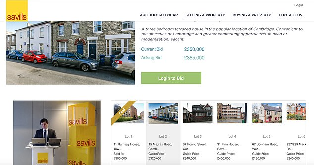 Click to purchase: This is what buyers saw at a Savills auction held in early February