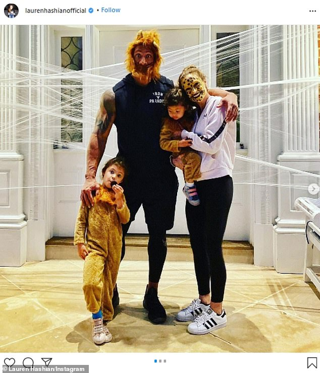 Halloween fun: Johnson shares Tiana and Jasmine with wife Lauren Hashian who he married in 2019