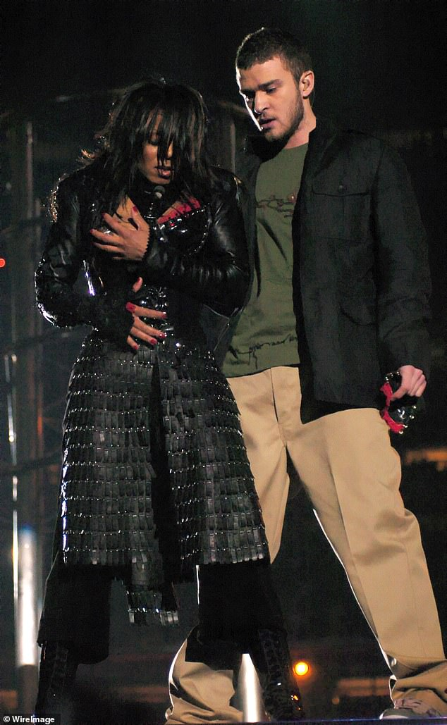 In 2004, Timberlake, then 23, performed with Janet Jackson, then 38, at the Super Bowl. At the end of the performance, he tore off her costume to expose her breast. The moment afterwards is shown