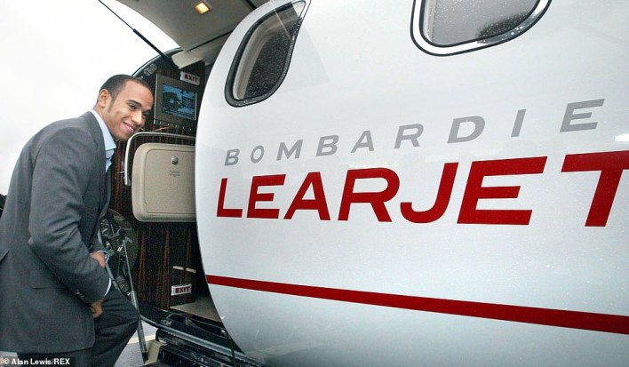 Lewis Hamilton after he flew into Belfast in a Lear Jet to visit the Shorts Aircraft Factory in 2008