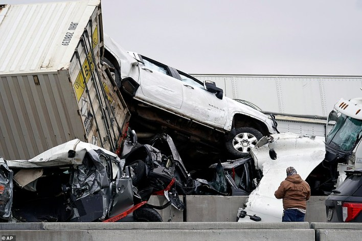 Vehicles were seen piled up after a fatal crash on Interstate 35 near Fort Worth, Texas on Thursday
